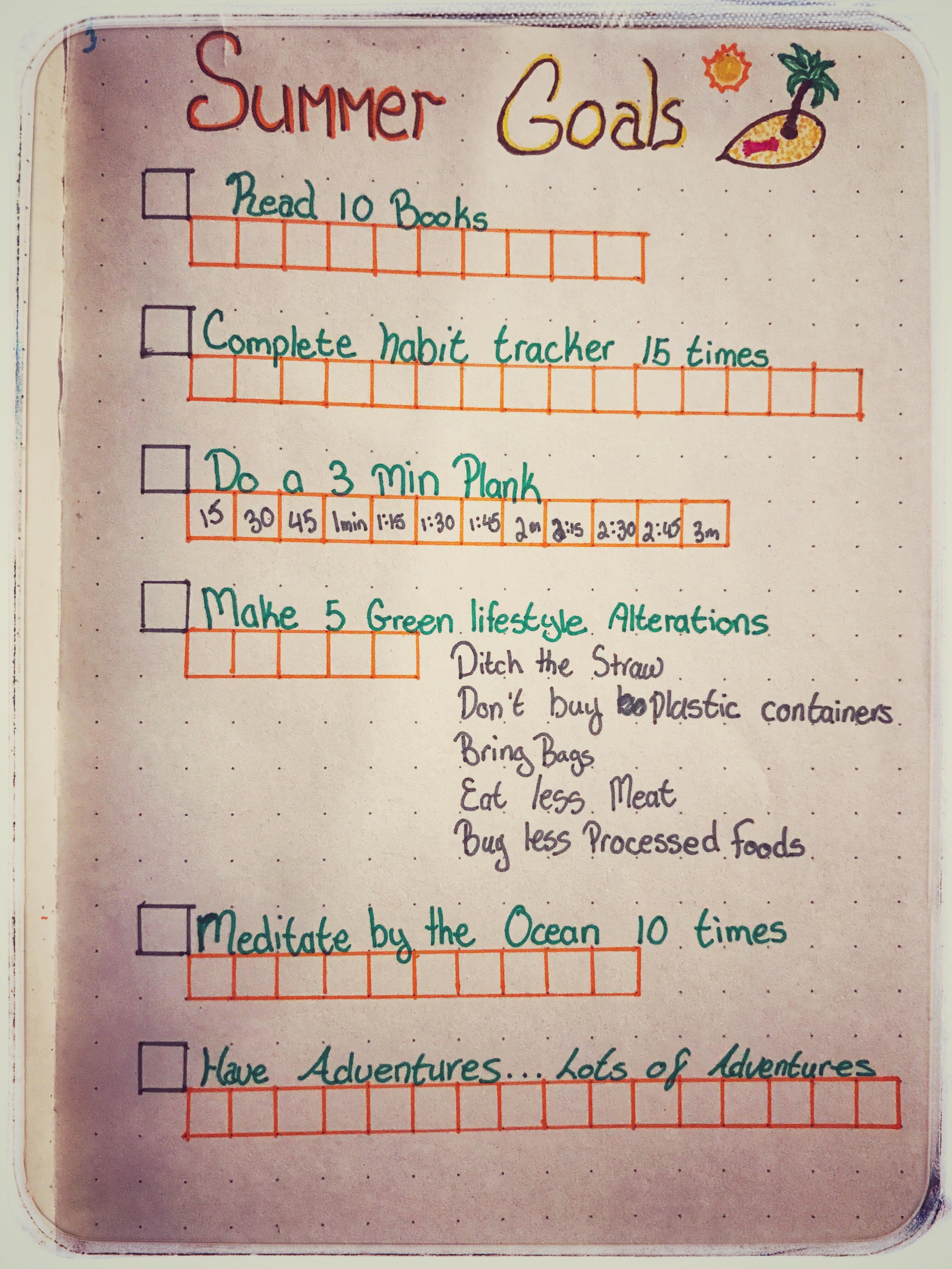 Summer Goals – A Bullet Journal Copy Cat.